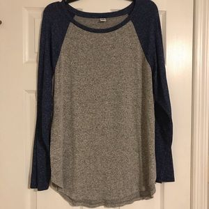 Old navy gray and navy plush tunic XL